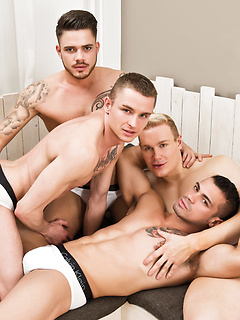 Four sexy gay guys with hard bodies and big cocks have an oral and anal orgy