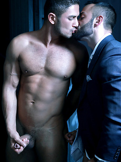 Bearded hunk in a suit has hot anal sex in a gloryhole bathroom