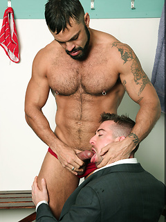 Scott Hunter has to blow a long cock before getting his tight ass destroyed