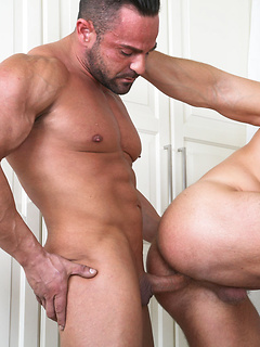 Ass eating hunk slides his bareback cock into that loose and slippery butthole