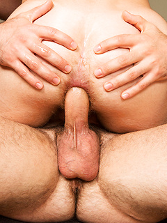 Intense bareback threeway finishes with a fantastically hot double penetration