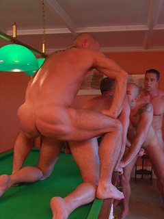 Playing pool naked turns the gay hunks on and they have an orgy while we watch