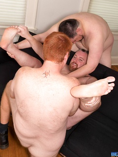 Chubby gay bears have a hot threesome with great anal and cocksucking